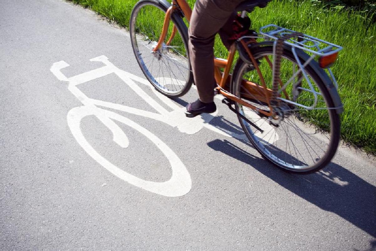 Biking on a bicycle lane