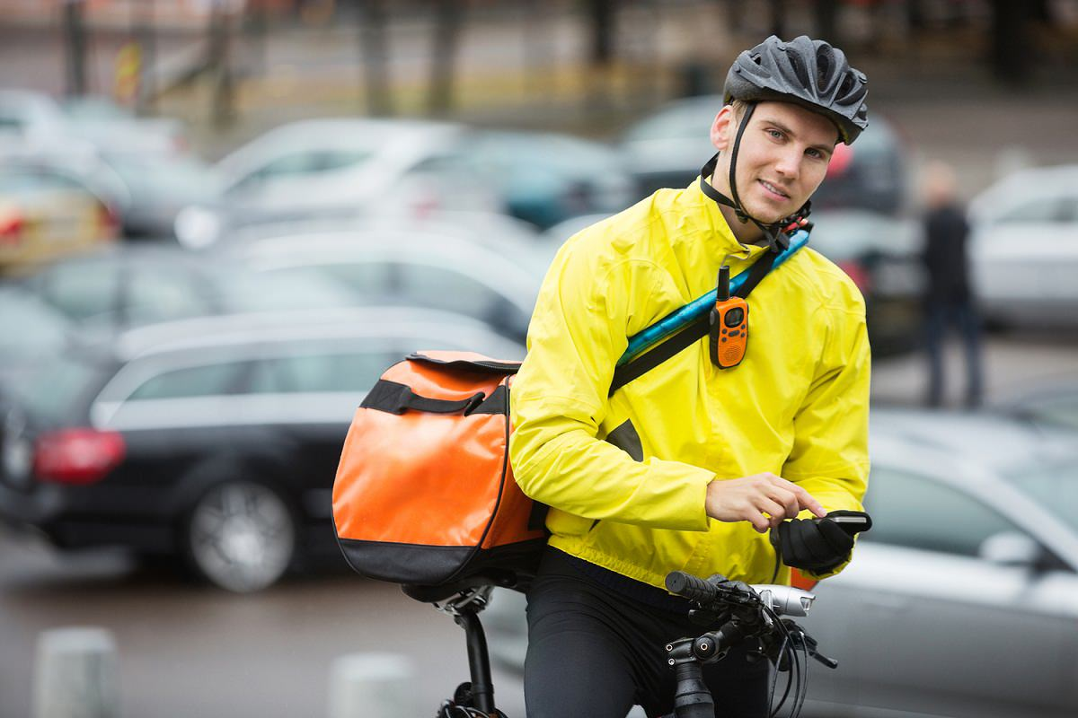 Cyclist with courier bag