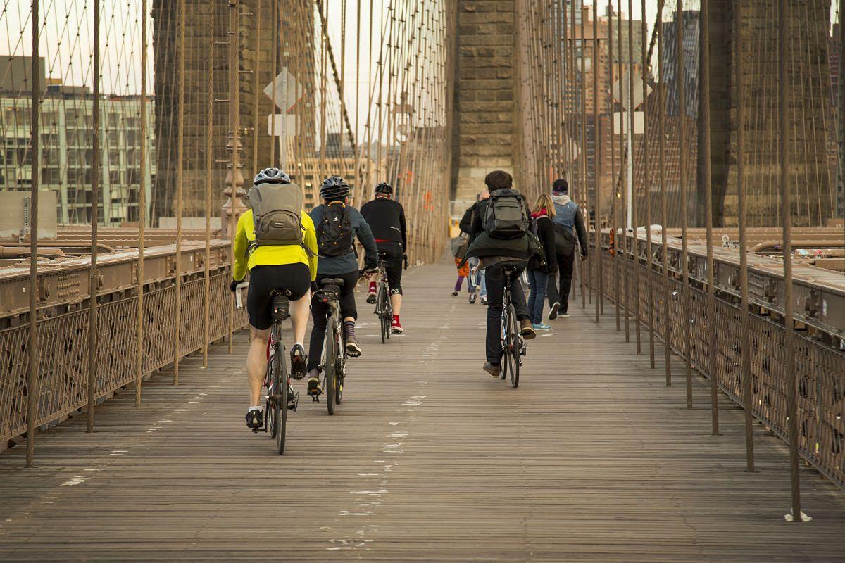Cycling on Brooklyn bridge