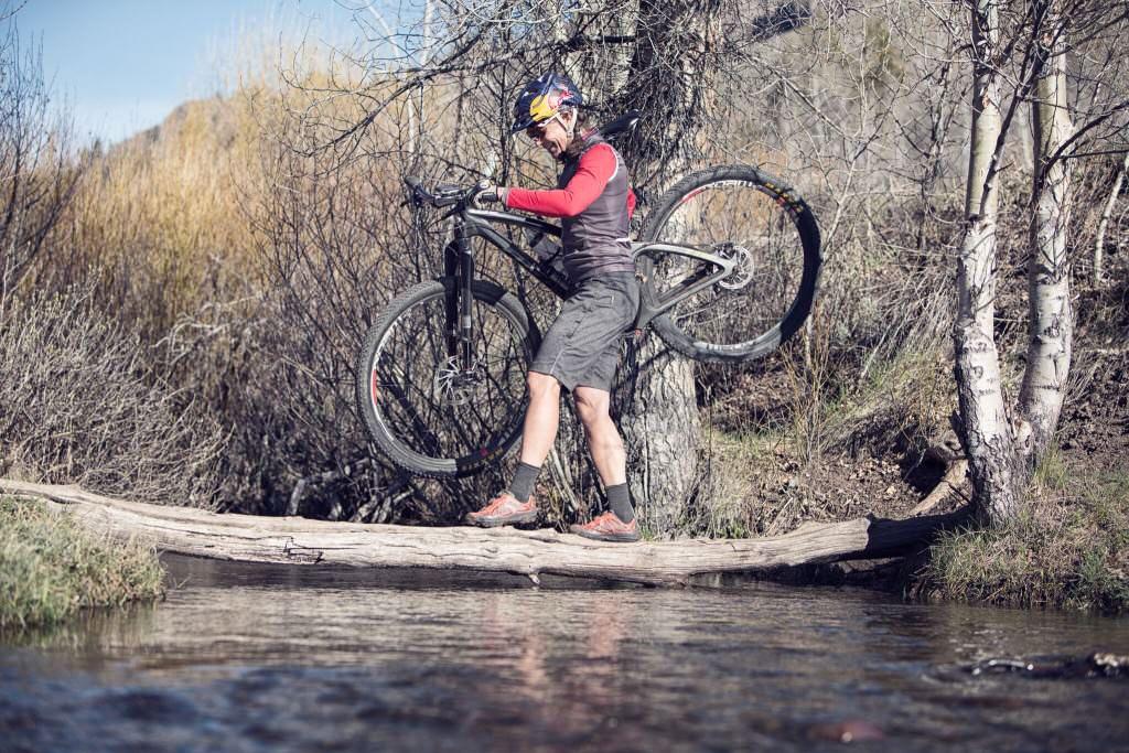 Carrying mountain bike