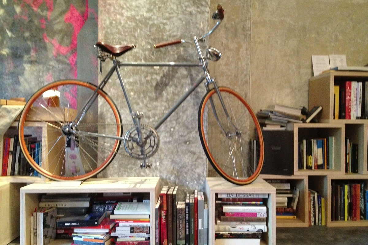 A decorated living space with bicycle