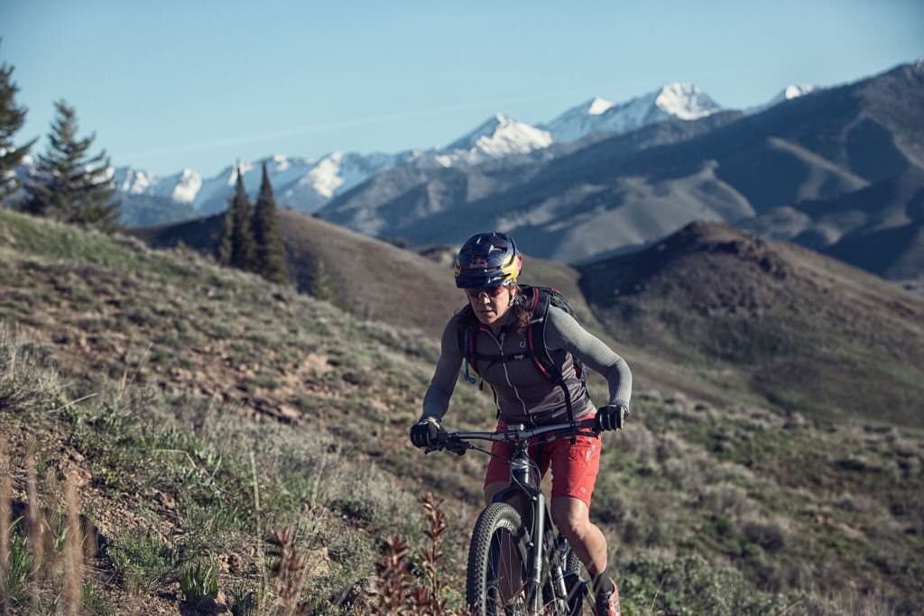 Going uphill on a mountain bike