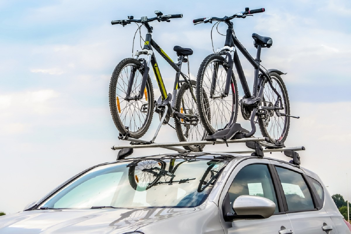 Bikes Locked On The Roof Of Car
