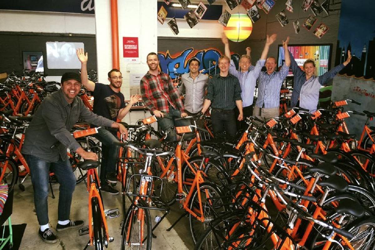 Donkey Republic team and bikes