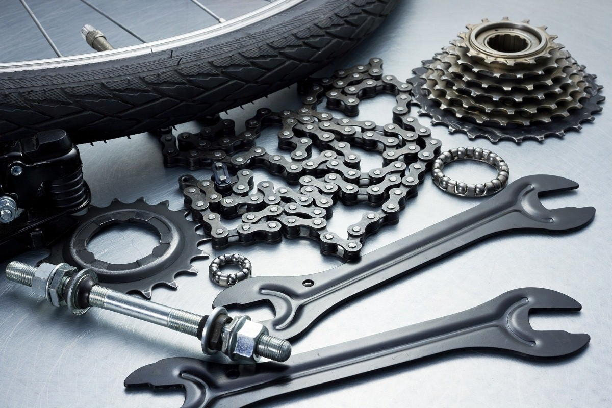 Bike repairing. Spare parts and tools