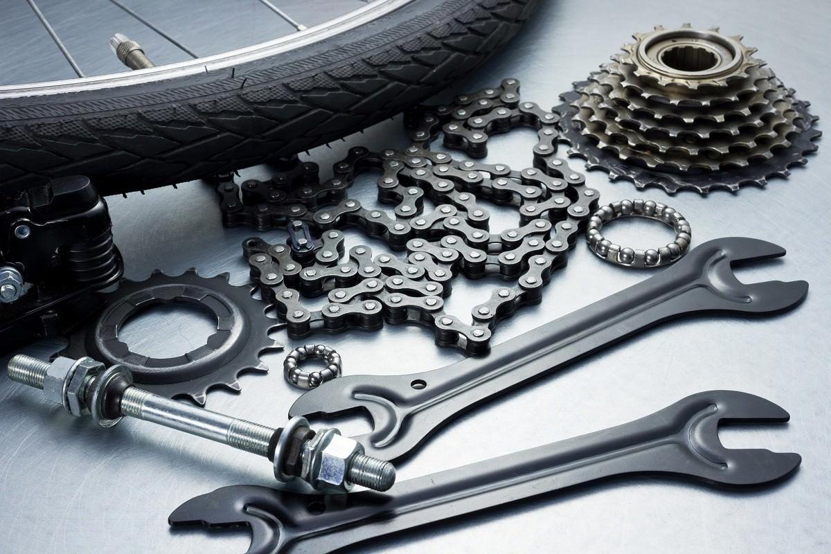Bike repairing. Spare parts and tools