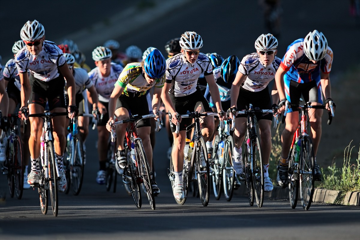 Cyclist racing in an event