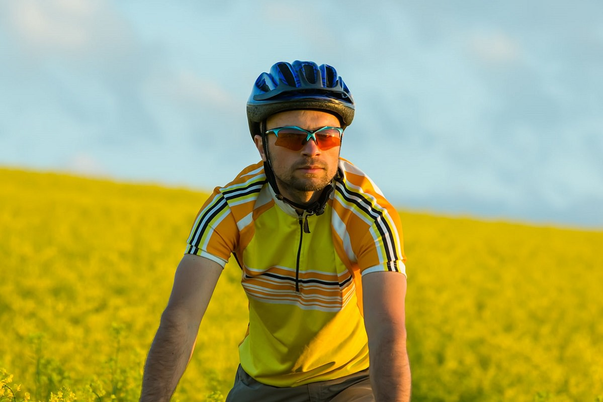 Cyclist in bike clothes