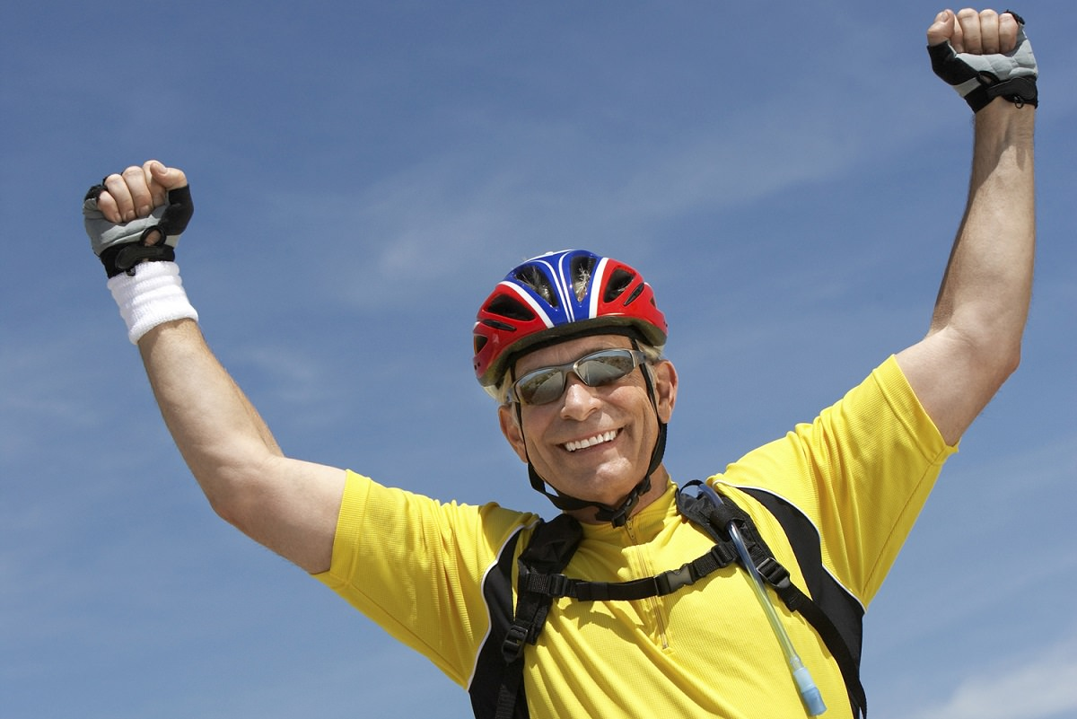 Happy and confident cyclist