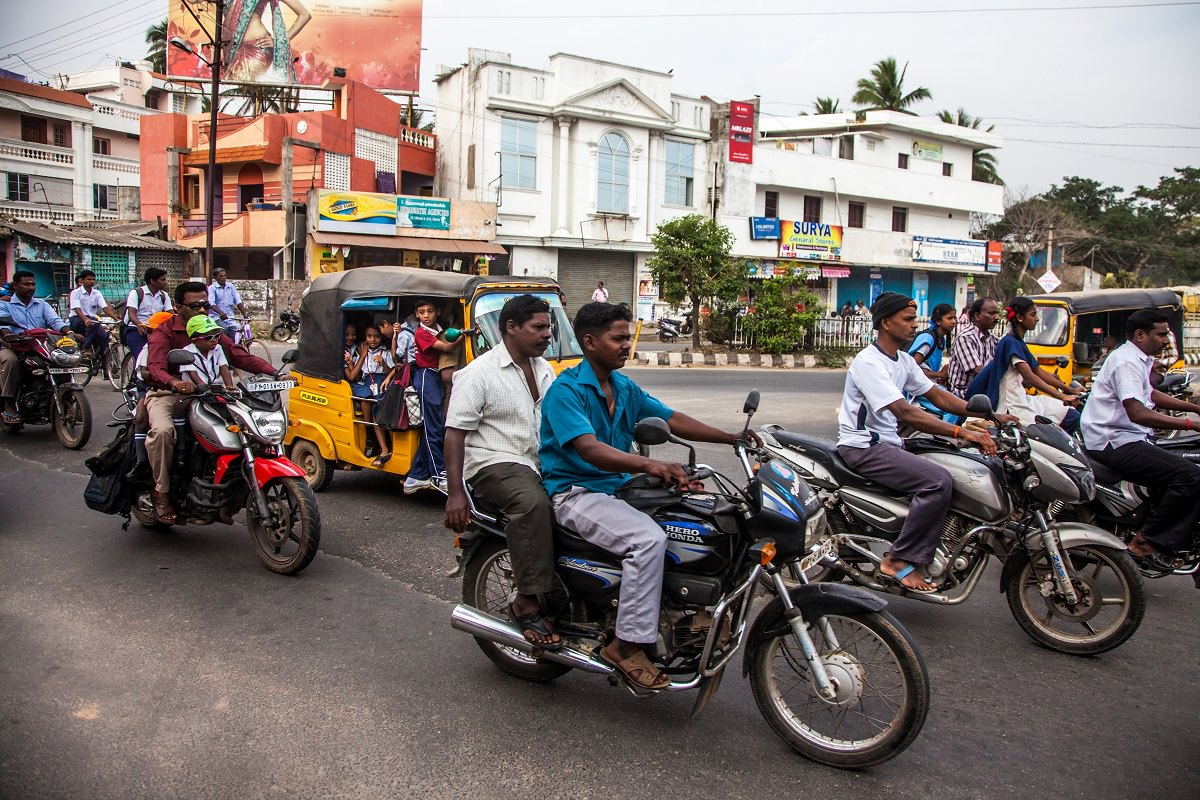 Busy road in India
