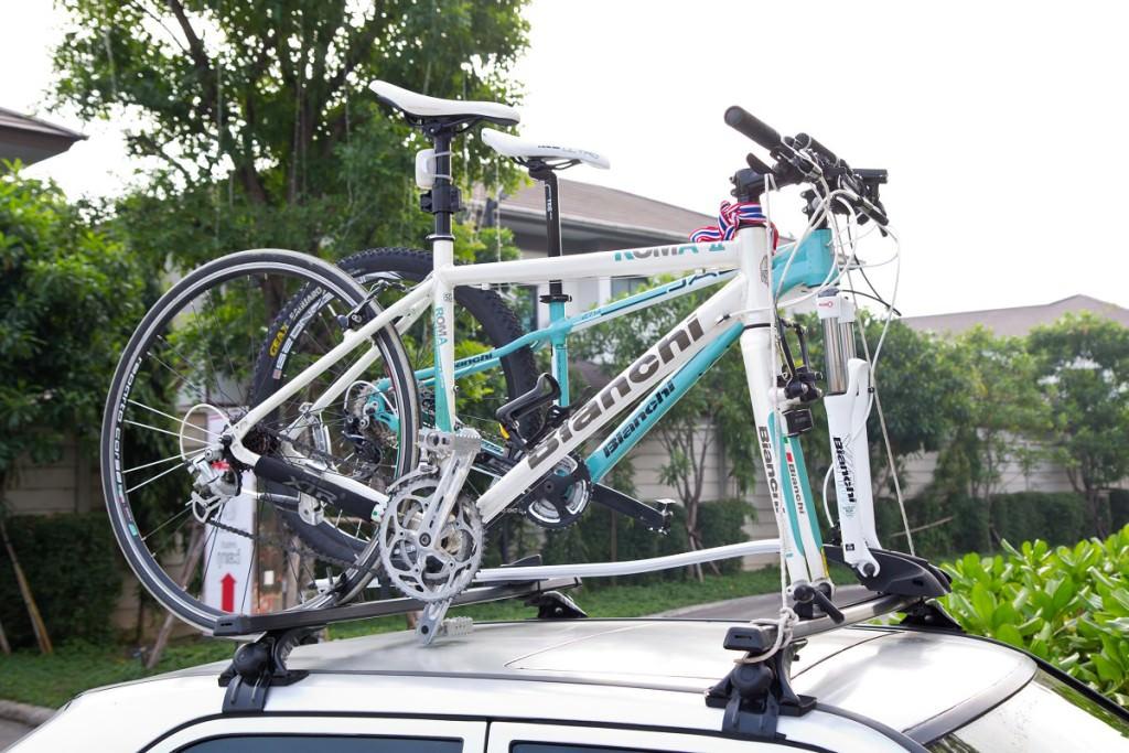 Road bikes on a bike rack