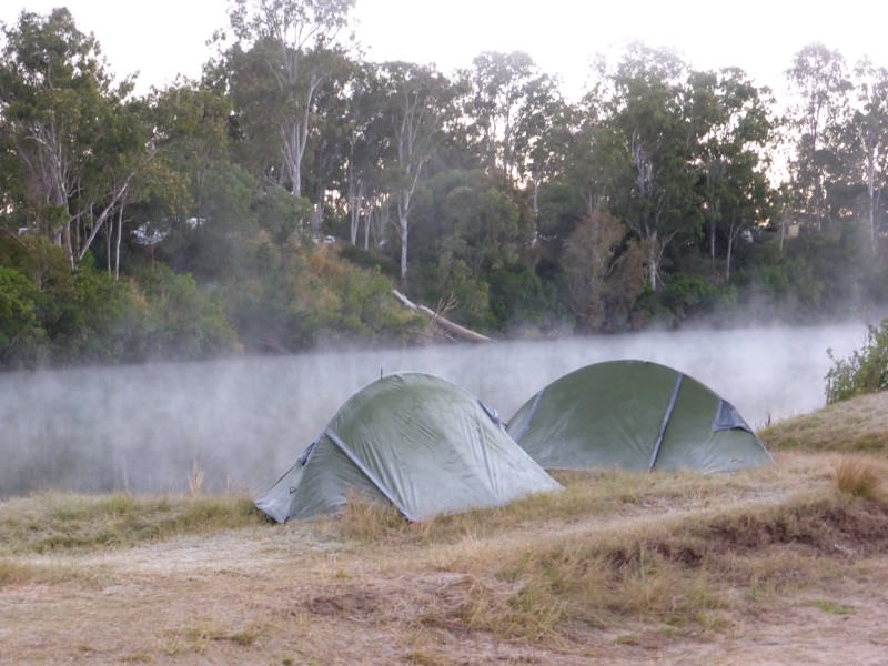 Tents in a frosty morning