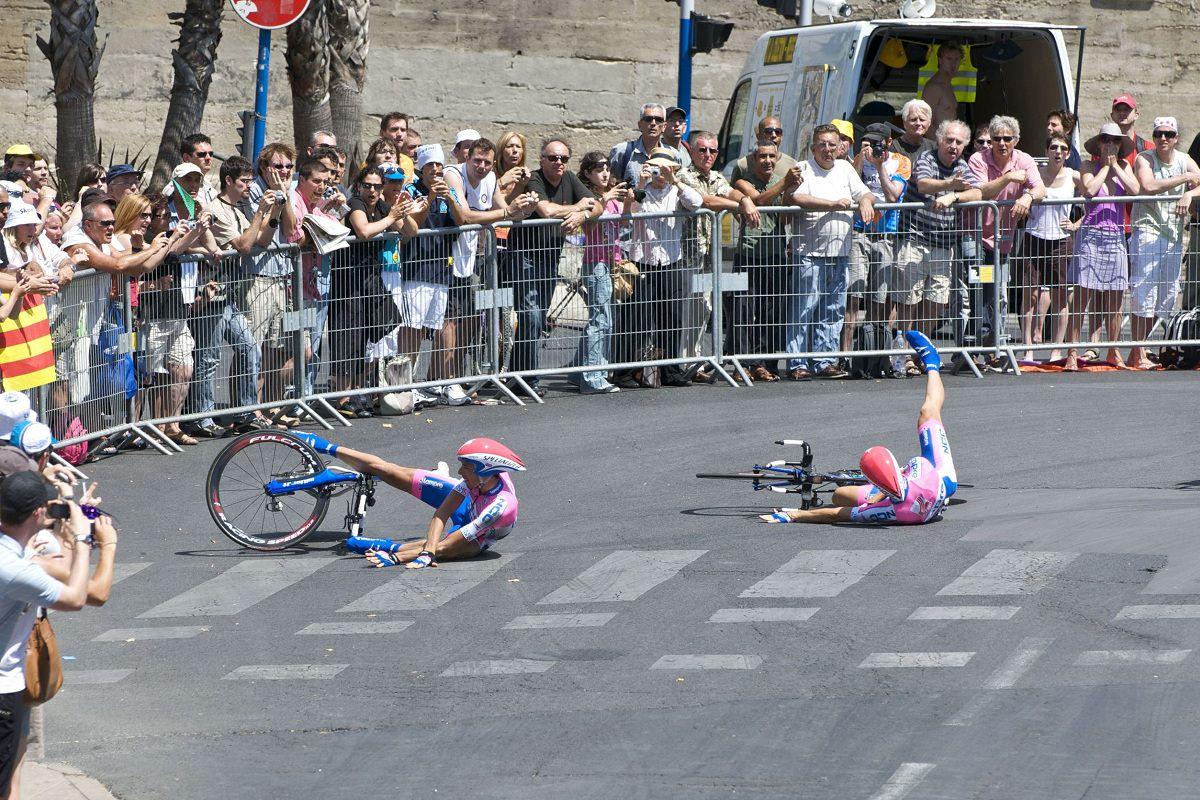 Road bikers crash in a race
