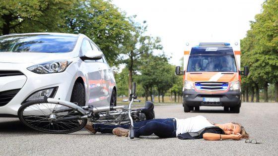 Cyclist hit by a car