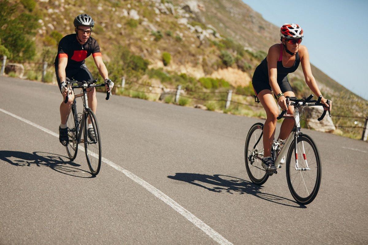 Two road bikers