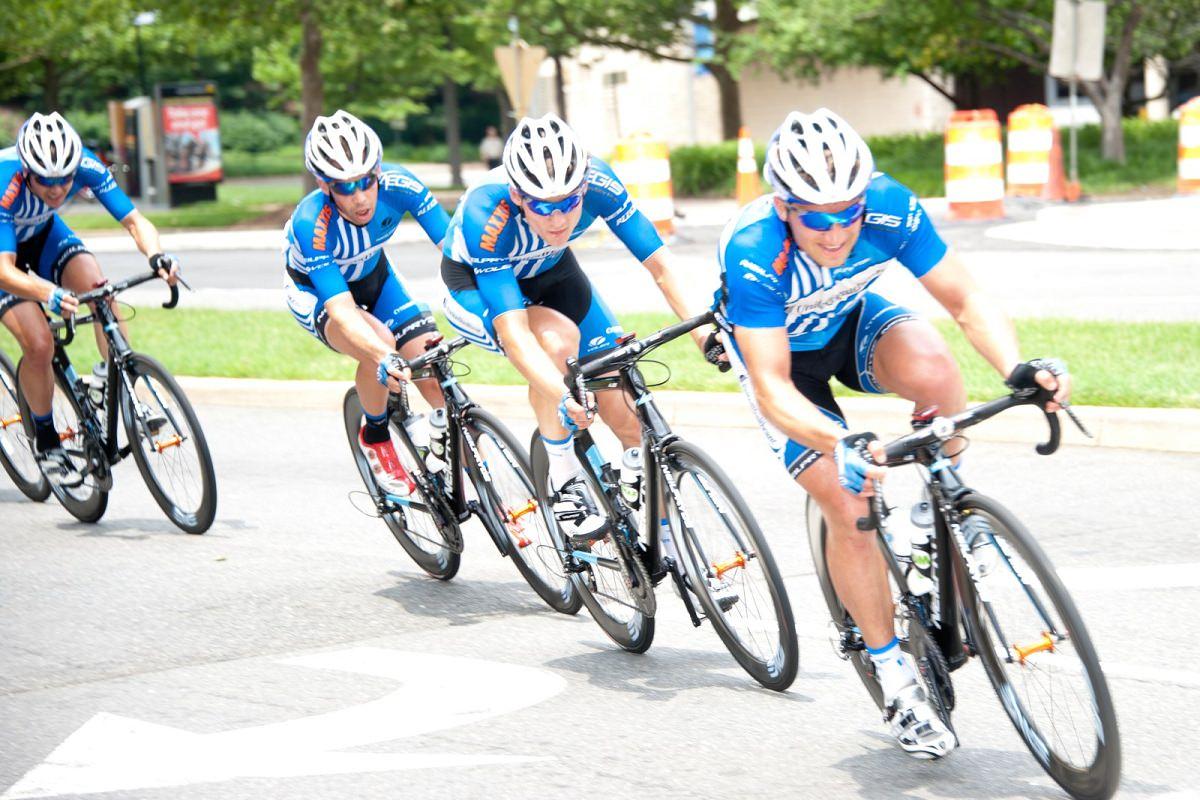 Three pro cyclists training