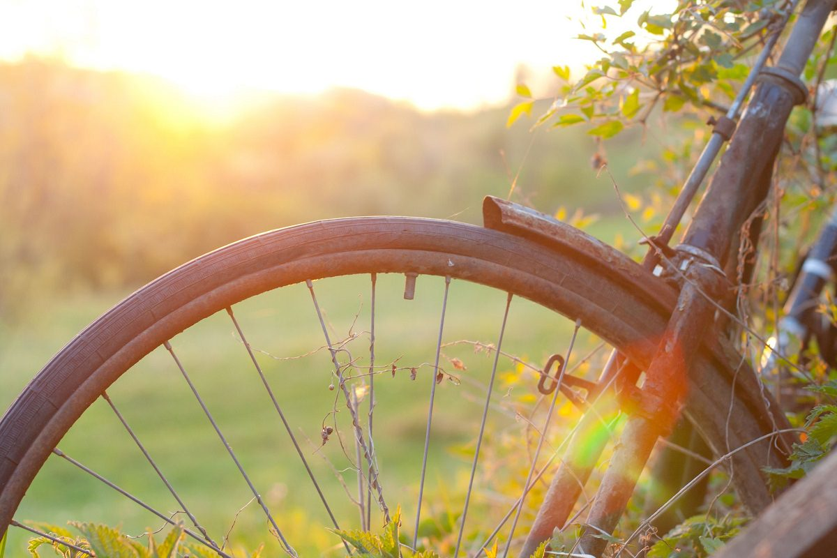 Old bicycle against sunset