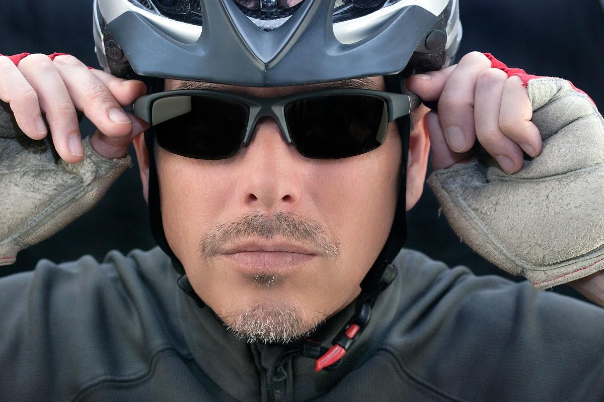 Cool man with bike helmet