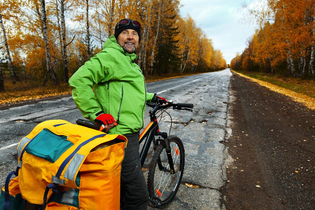 A man touring on his bike