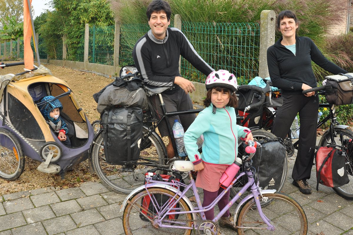 The family with their bikes
