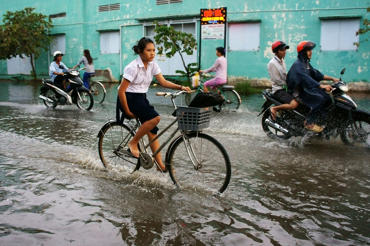 Cycling in flooded city