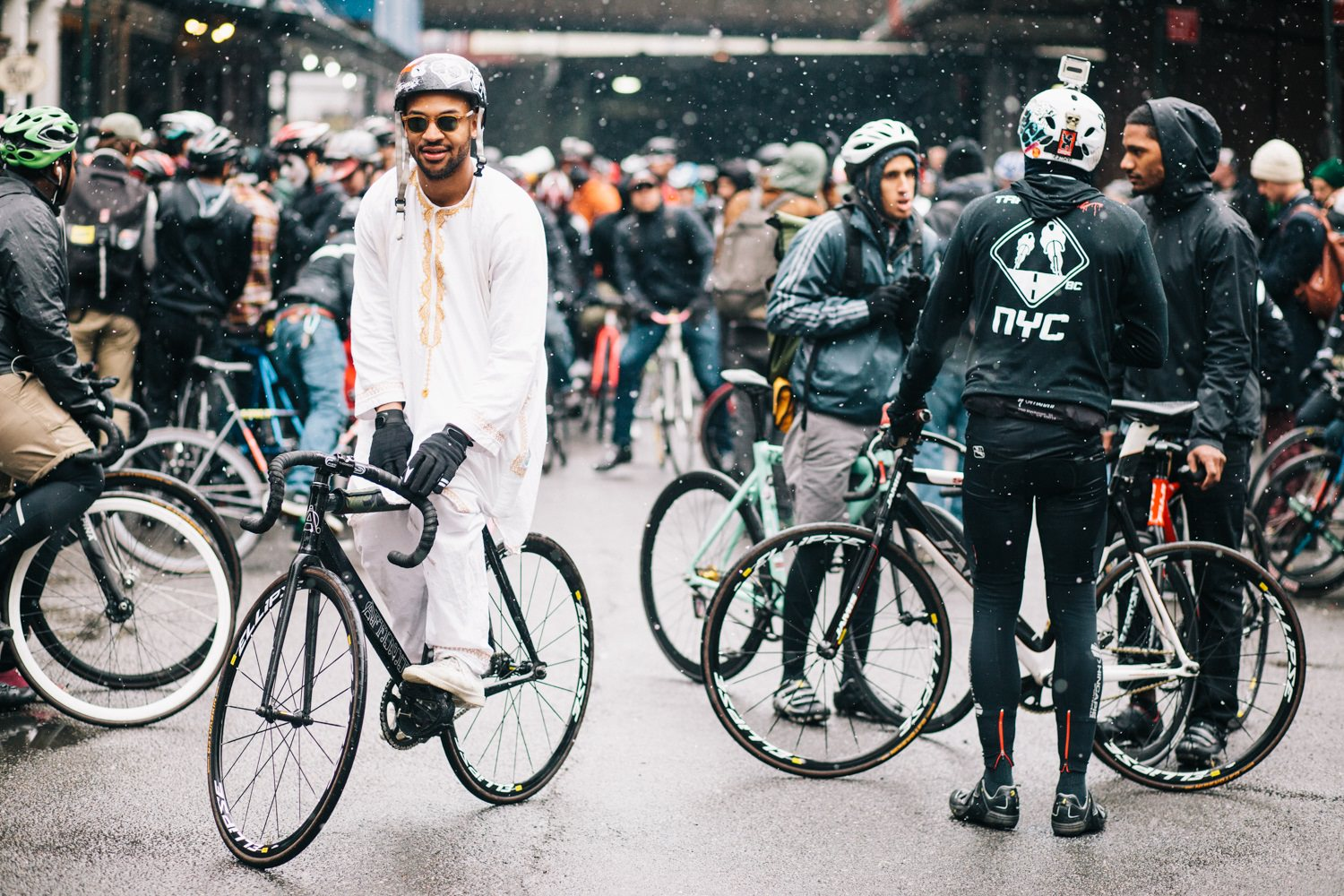 Group of cyclists in the rain