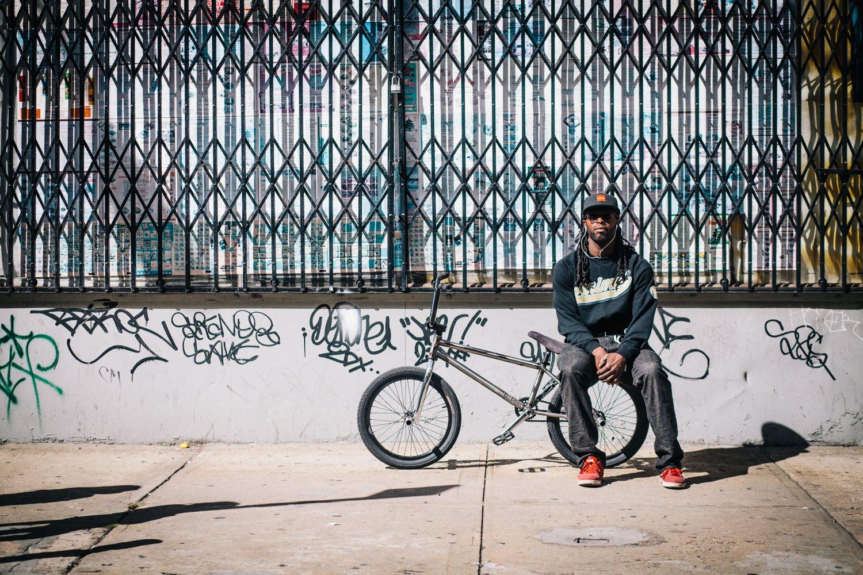 Sitting next to a BMX bike