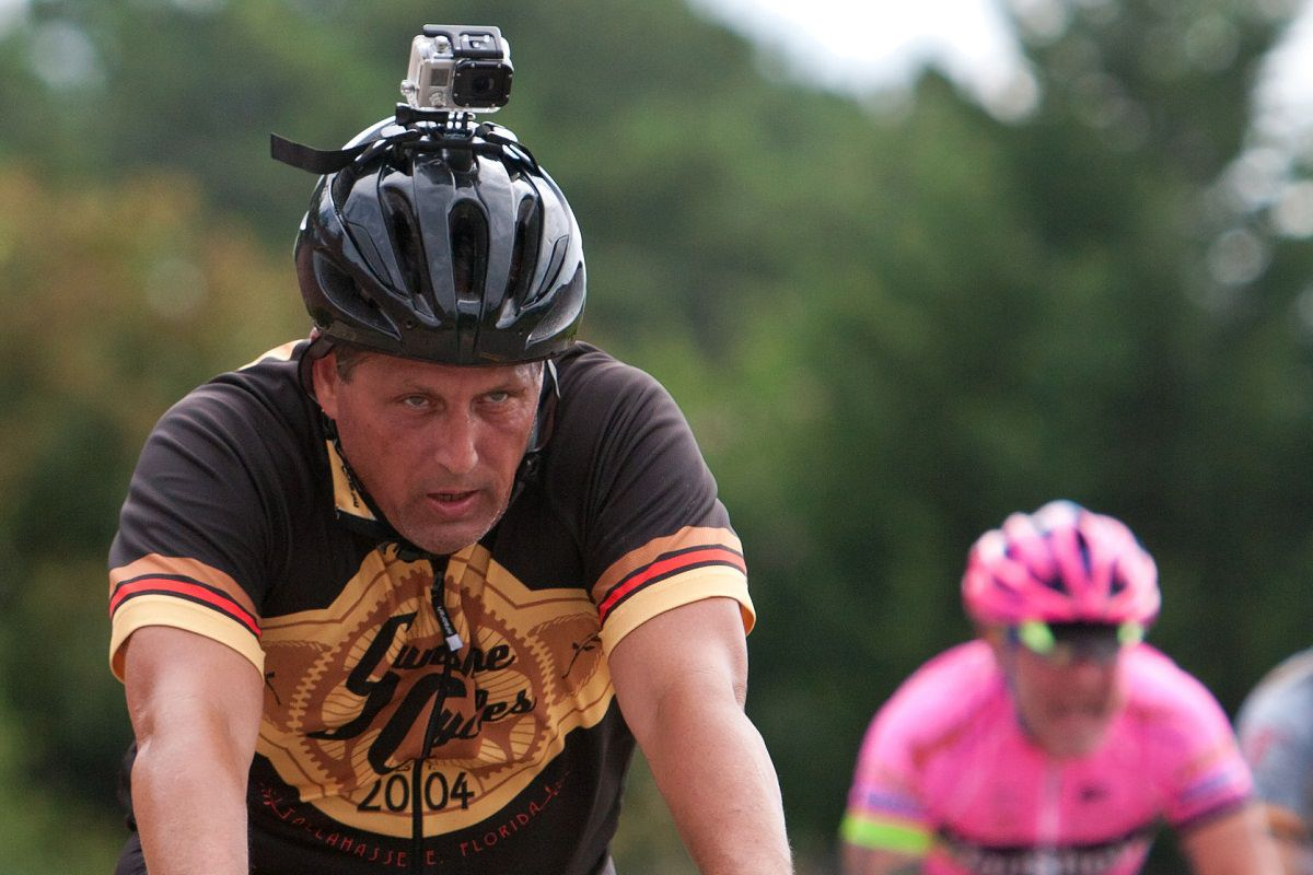 Cyclist with GoPro helmet