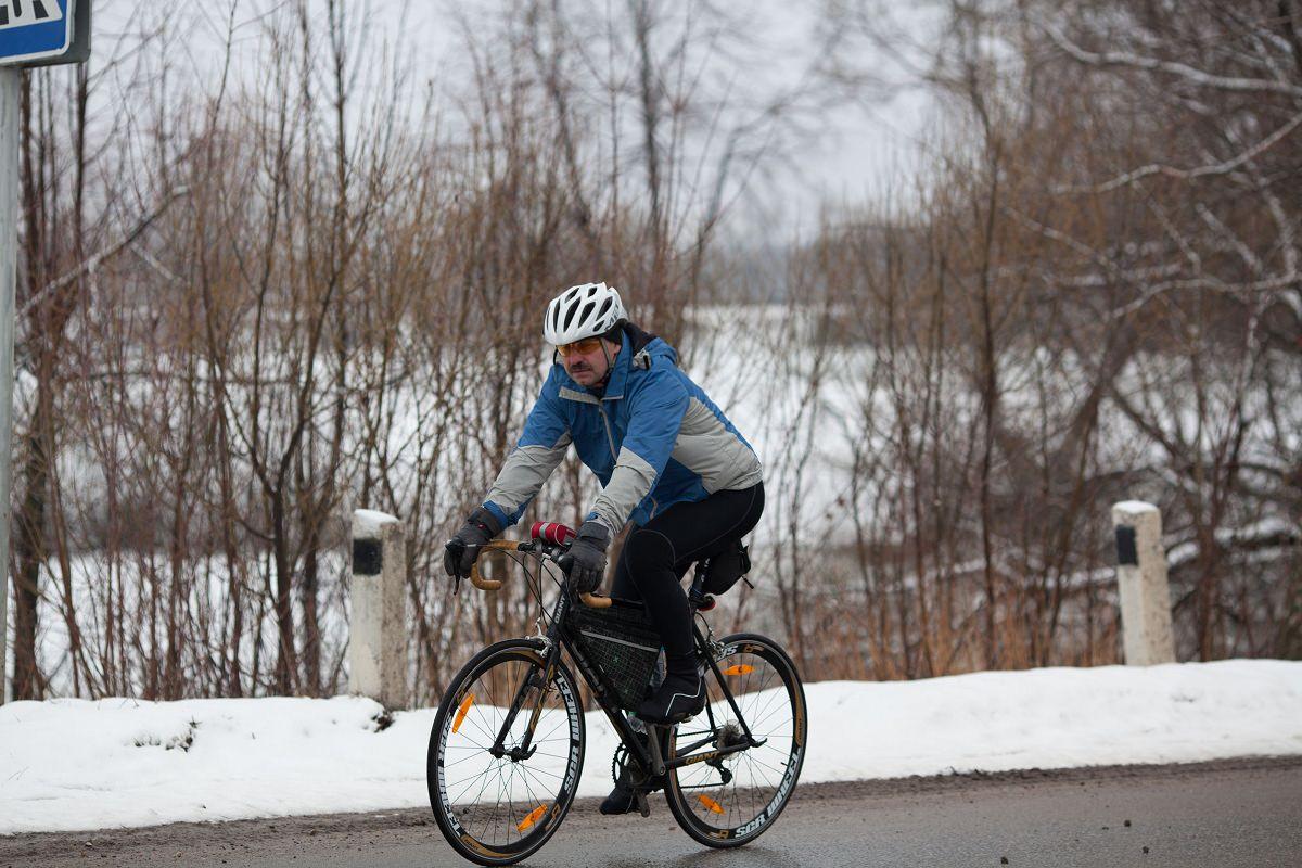Man biking in the winter