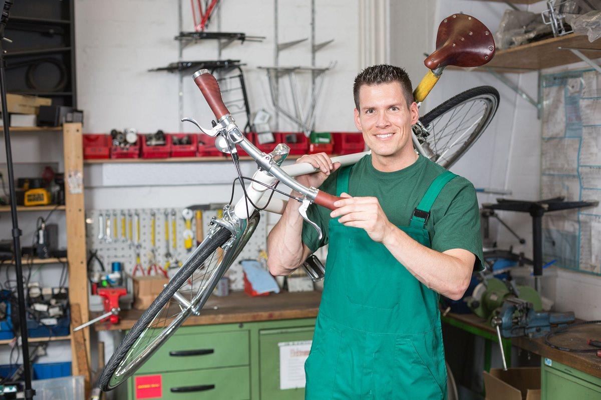 Happy bike mechanic