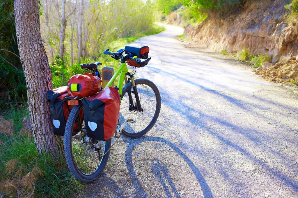 Mountain bike loaded with bags