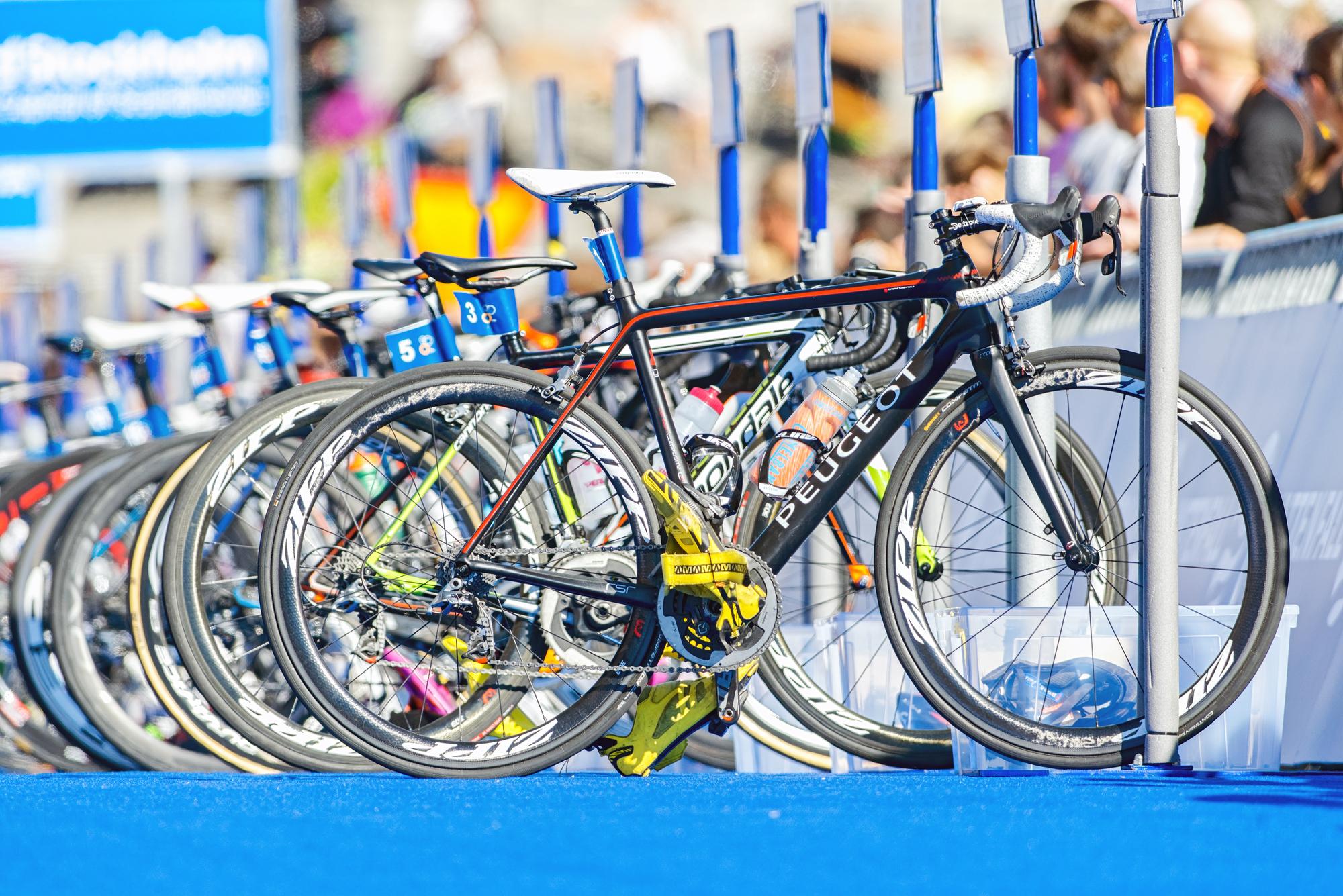 Road Bike wheels on a row