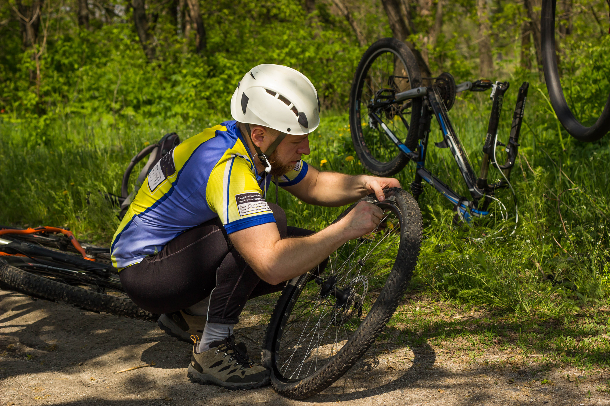 changing tire on bike
