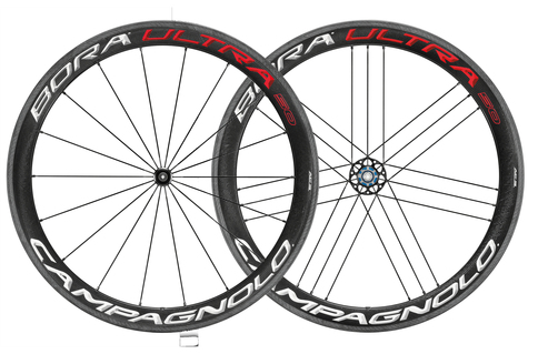 Campagnolo Bora Ultra 50 Clincher Rim Brake 700c Wheelset Campagnolo Freehub Red White Carbon
