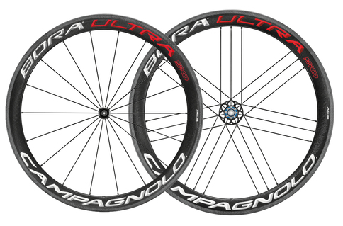 Campagnolo Bora Ultra 50 Clincher Rim Brake 700c Wheelset Shimano Freehub Red White Carbon