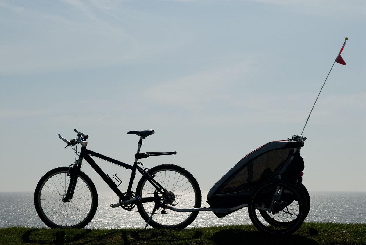 Bike trailer in the sunset