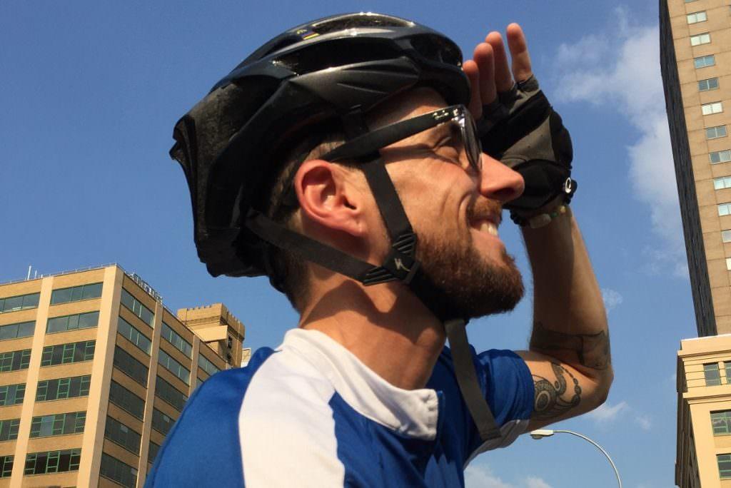Cyclist looking ahead