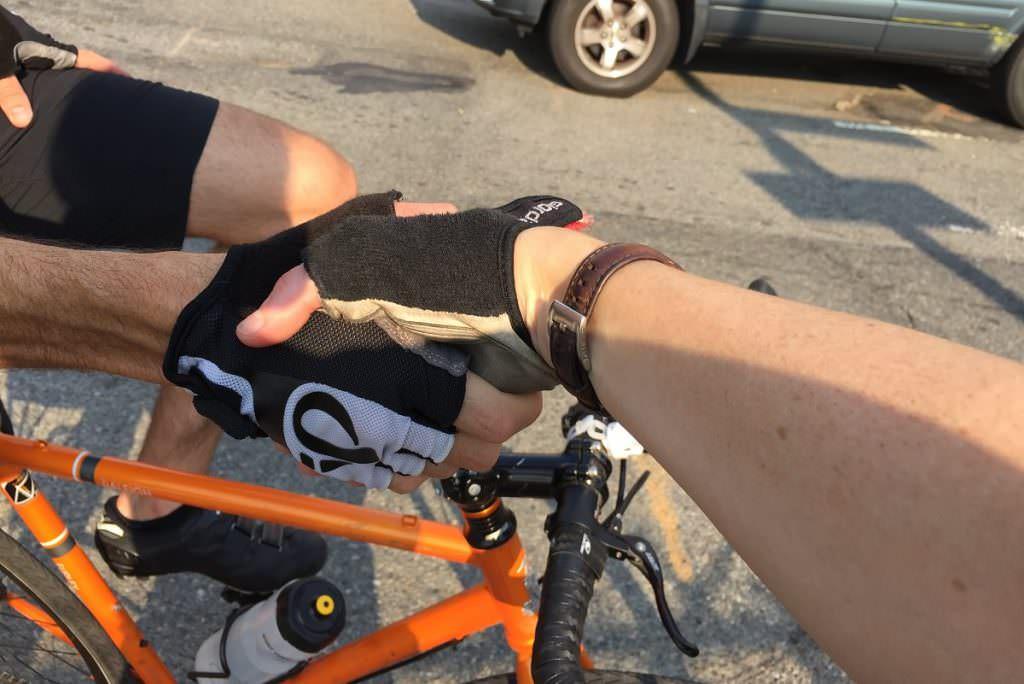 Cyclist handshake