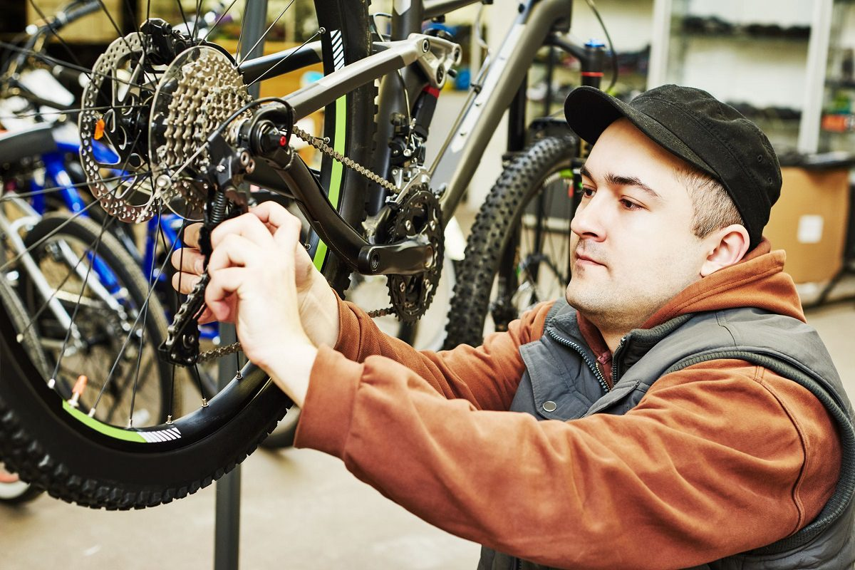 Repairing a mountain bike
