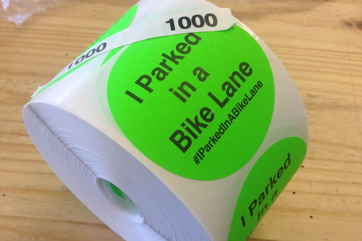 I parked in a bike lane stickers