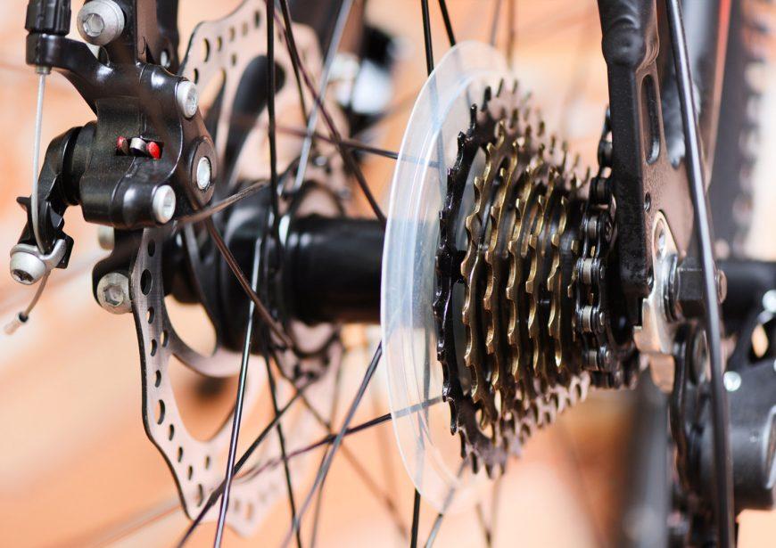 Rear wheel and chain in a mountain bike