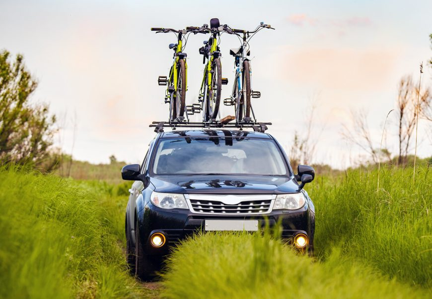 Three Bicycles On Roof Rack